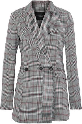 W118 By Walter Baker  WOMAN SAUNDRA PRINCE OF WALES CHECKED WOVEN BLAZER GRAY