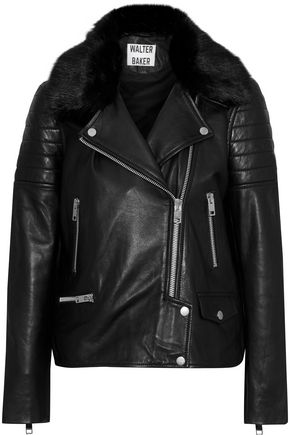 W118 by WALTER BAKER Ruby faux fur-trimmed leather biker jacket