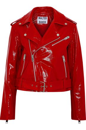 W118 by WALTER BAKER Chrystal crinkled patent-leather biker jacket