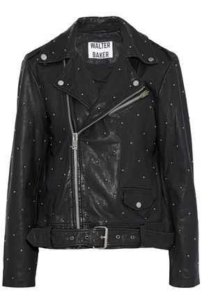 W118 by WALTER BAKER Leah studded leather biker jacket
