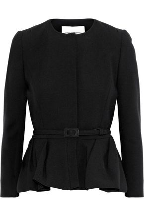 CAROLINA HERRERA Belted wool and cotton-blend crepe peplum blazer