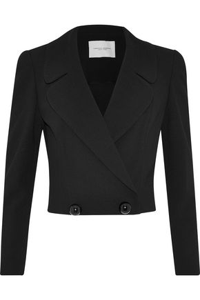 CAROLINA HERRERA Double-breasted cropped wool and cotton-blend blazer