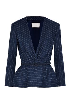 CAROLINA HERRERA Belted pinstriped wool-blend twill jacket