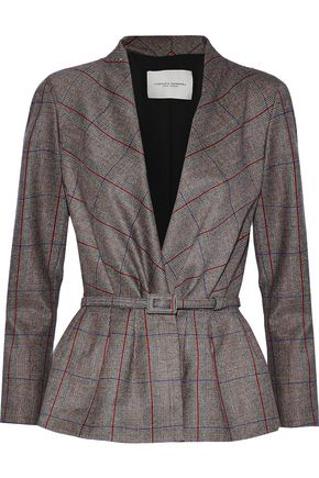 CAROLINA HERRERA Belted checked wool jacket