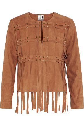 HAUTE HIPPIE Fringe-trimmed studded suede jacket