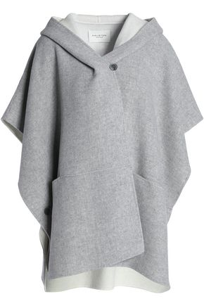 HALSTON HERITAGE Mélange wool-blend hooded cape