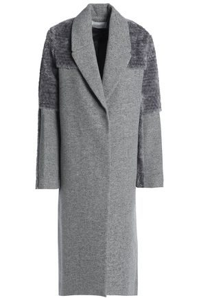 HALSTON HERITAGE Faux shearling-paneled mélange wool-blend coat