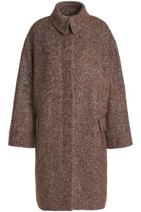 VANESSA BRUNO Herringbone wool, alpaca and silk-blend coat