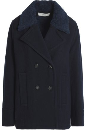 VANESSA BRUNO Faux shearling-trimmed wool-blend peacoat
