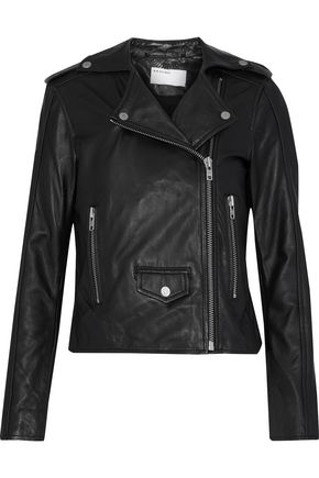 MUUBAA Suede-paneled leather biker jacket