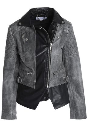 MUUBAA Cracked and smooth-leather biker jacket
