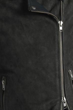 MUUBAA Leather-paneled suede biker jacket