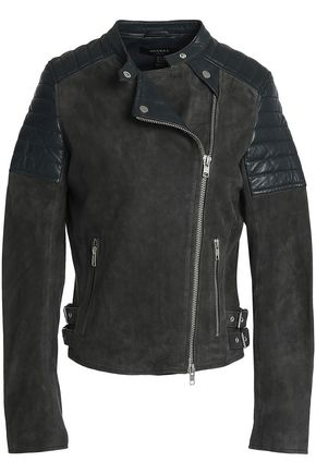 MUUBAA Leather-paneled suede biker jacket