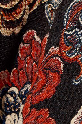 STELLA McCARTNEY Faux leather-paneled floral-jacquard bomber jacket