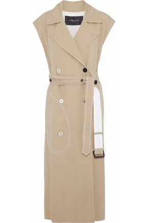 DEREK LAM Double-breasted two-tone cotton-twill trench coat