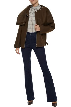 VANESSA BRUNO Shearling-paneled wool-blend jacket