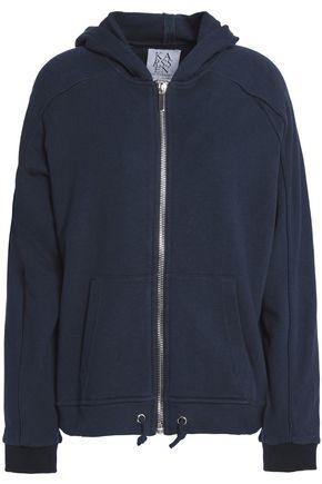 ZOE KARSSEN Mélange printed cotton-terry hooded sweatshirt