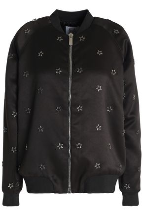 ZOE KARSSEN Embellished satin bomber jacket