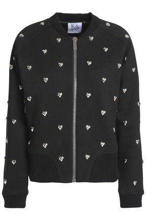 ZOE KARSSEN Studded distressed cotton bomber jacket