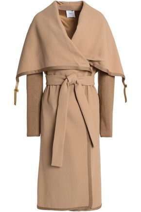 AGNONA Knitted-paneled wool-crepe coat