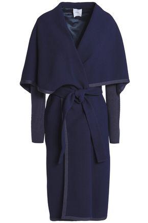 AGNONA Knitted-paneled wool-crepe coat