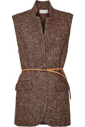 VANESSA BRUNO Leather-trimmed herringbone wool, alpaca and silk-blend vest