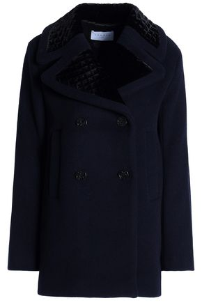 SANDRO_XX Double-breasted velvet-trimmed wool-blend coat