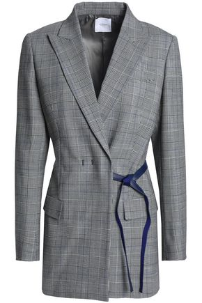 AGNONA Leather-trimmed checked twill blazer