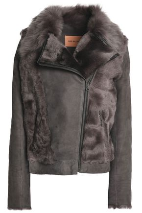 YVES SALOMON Paneled shearling and suede biker jacket
