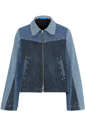 M.I.H JEANS Folken suede-paneled color-block studded denim jacket