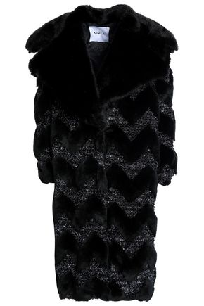 AINEA Metallic bouclé-trimmed faux fur coat
