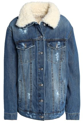 AINEA Faux shearling-trimmed distressed denim jacket