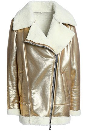 AINEA Metallic faux shearling biker jacket