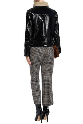 AINEA Faux shearling-trimmed vinyl jacket