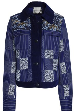 MARY KATRANTZOU Henri embroidered denim-paneled printed cotton-twill jacket