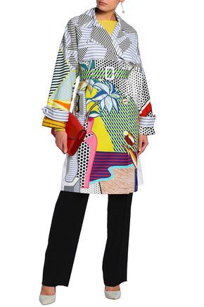 MARY KATRANTZOU Double-breasted printed cotton-blend coat