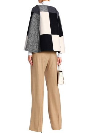 CAROLINA HERRERA Checked wool-blend cape