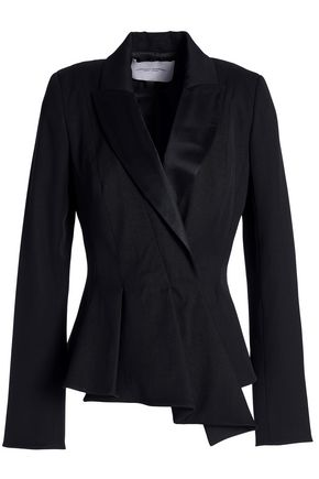 CAROLINA HERRERA Draped satin-trimmed wool-blend blazer