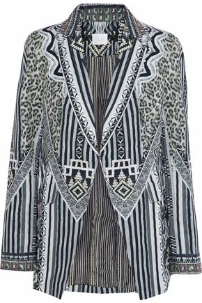 CAMILLA Tribal Theory embellished printed twill blazer