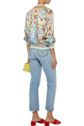 CAMILLA Close To My Heart embellished printed silk crepe de chine bomber jacket