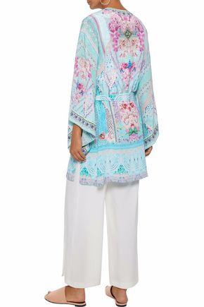 CAMILLA Embellished printed silk crepe de chine kimono