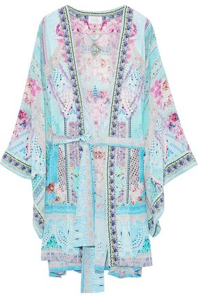 CAMILLA Rio Riot embellished printed silk crepe de chine kimono