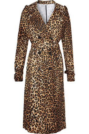 W118 by WALTER BAKER Double-breasted leopard-print cotton-blend trench coat