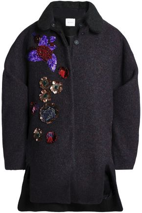 DELPOZO Embellished brushed-wool coat