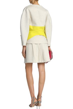 DELPOZO Knotted two-tone linen and cotton-blend jacket
