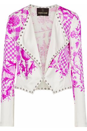ROBERTO CAVALLI Draped eyelet-embellished printed twill jacket