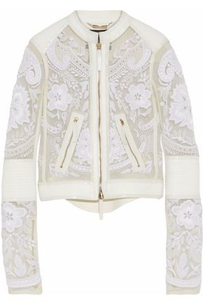 ROBERTO CAVALLI Leather-trimmed embroidered tulle jacket