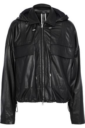 THEORY Leather hooded jacket