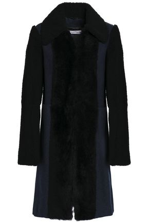 SEE BY CHLOÉ Shearling-paneled wool-blend coat