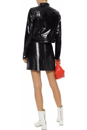 THEORY Cropped crinkled patent-leather jacket